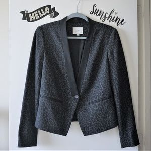 LOFT Dark Gray Structured Animal Print Blazer  4